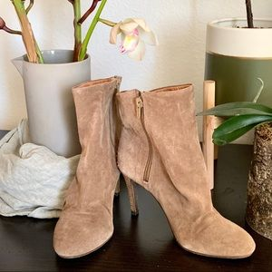 Free People Slouchy Suede Heeled Bootie Tan 5 EUC